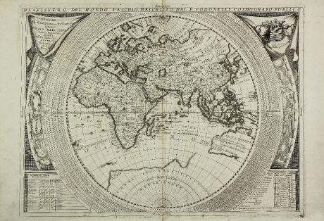 Antike Landkarten, Coronelli, Weltkarten, 1690: Planisfero del Mondo Vecchio, Descritto dal P. Coronelli, Cosmografo Publico
