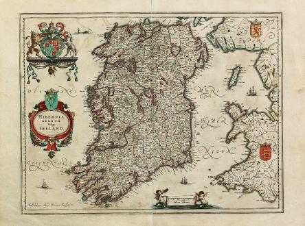 Antike Landkarten, Janssonius, Irland, Britische Inseln, 1636: Hibernia Regnum vulgo Ireland. Amstelodami, Apud Ioannem Ianssonium