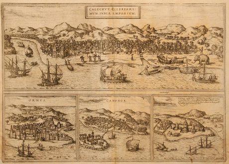 Antique Maps, Braun & Hogenberg, India, Kozhikode, 1575: Calechut Celeberrimum Indiae Emporium