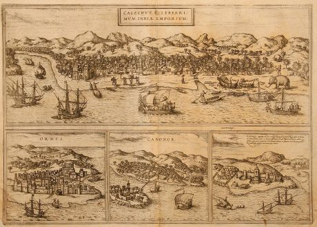 Antike Landkarten, Braun & Hogenberg, Indien, Kozhikode, 1575: Calechut Celeberrimum Indiae Emporium