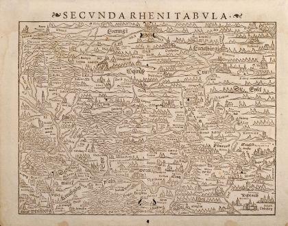 Antike Landkarten, Münster, Deutschland, Rhein, 1550: Secunda Rheni tabula