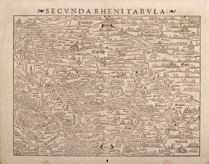Antique Maps, Münster, Germany, Rhine, 1550: Secunda Rheni tabula