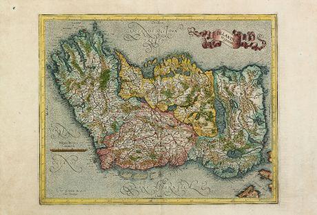 Antike Landkarten, Mercator, Irland, Britische Inseln, 1595 (1628): Irlandiae Regnum