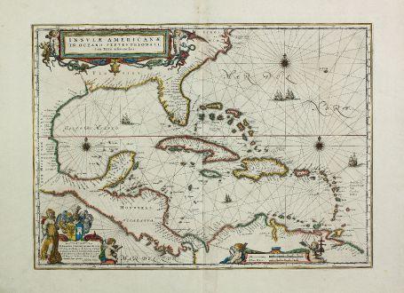 Antike Landkarten, Blaeu, Mittelamerika - Karibik, Karibik, Florida, 1635 (1662): Insulae Americanae in Oceano Septentrionali, cum Terris Adiacentibus