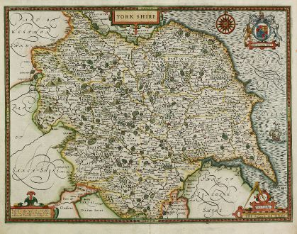Antique Maps, Speed, British Isles, England, Yorkshire, 1646: York Shire