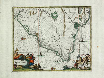 Antike Landkarten, Montanus, Südamerika, Brasilien, 1671: Brasilia