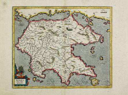 Antike Landkarten, Mercator, Griechenland, Peloponnes, 1595: Morea olim Peloponnesus