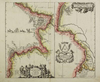 Antique Maps, Janssonius, Russia, Volga, 1680: Nova et Accurata Wolgae Fluminis, olim Rha Dicti Delineatio