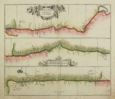 Antike Landkarten, Janssonius, Russland, Nördliche Dwina, Sewernaja Dwina, 1680: Dwinae Fluvii, Nova Descriptio
