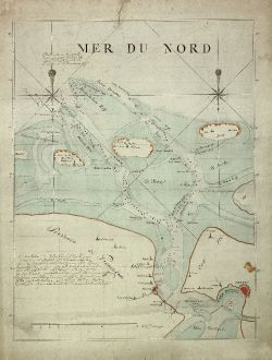 Antike Landkarten, Anonymous, Deutschland, Niedersachsen, Ost-Friesland, Emden: [Manuscript Chart of the Wadden Sea at the Eems estuary]