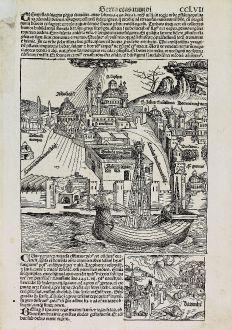 Antique Maps, Schedel, Turkey, Istanbul, Constantinople, 1493: [Istanbul, Constantinople]