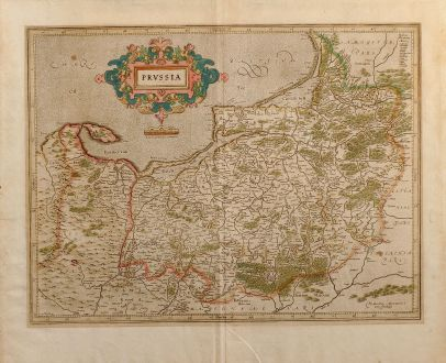 Antique Maps, Mercator, Poland, Borussia, 1630: Prussia