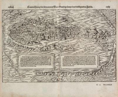 Antique Maps, Münster, Italy, Venice (Venezia), 1574: Contrafehtung der fürnemmen Statt Venedig, sampt den umbligenden Inseln.