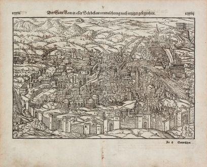 Antike Landkarten, Münster, Italien, Rom (Roma), 1574: Der Statt Rom in aller Welt bekant contrafehtung nach ietziger gelegenheit.