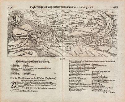 Antike Landkarten, Münster, Schweiz, Genf (Geneve), 1574: Beyde Stett Genff, gross und klein, mit einer Brucken zusammen gehenckt.