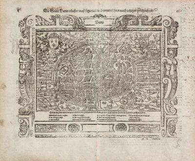 Antike Landkarten, Münster, Frankreich, Paris, 1574: Die Statt Paris etlicher mass figuriert und contrafehtet nach ietziger gelegenheit