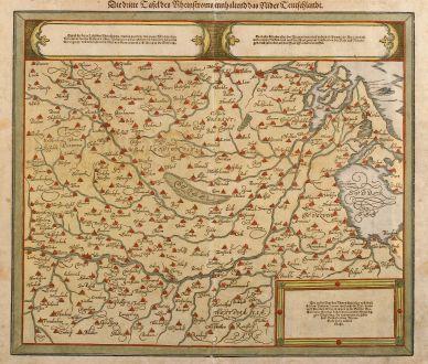 Antike Landkarten, Münster, Benelux, Holland, 1550: Die dritte Tafel des Rheinstroms innhaltend das Nider Teutschlandt