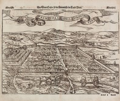Antique Maps, Münster, Central America - Caribbean, Mexico City, Peru, Cusco: Der Statt Themistitan in den Neuwen Inseln gelegen / Die Statt Cusco so die fuernembste im Land Peru / Il Cuscho Citta...