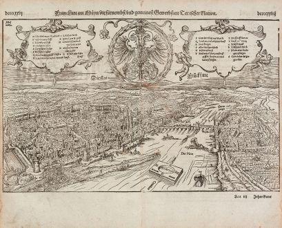 Antike Landkarten, Münster, Deutschland, Frankfurt am Main, 1574: Franckfurt am Mayn die fuernemest und gemeinest Gewerbstatt Teutscher Nation