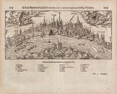 Antike Landkarten, Münster, Deutschland, Köln, 1574: Colonia Agrippina, das ist Coeln, bey den Alten und zu unsern zeiten ein mechtige Reichstatt
