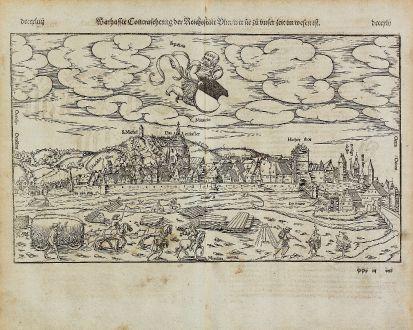 Antike Landkarten, Münster, Deutschland, Ulm, 1574: Warhaffte Contrafehtung der Reichsstatt Ulm wie sie zu unser zeit im wesen ist.