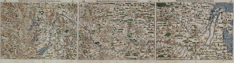 Antike Landkarten, Münster, Deutschland, Rhein, Rheinlauf, 1544 (1580): Rheinstroms Ursprung sampt dem Schweytzerland und anstossenden Ländern. / Die ander Tafel des Rheinstroms begreiffendt die...