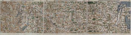 Antique Maps, Münster, Germany, Rhine River, 1544 (1580): Rheinstroms Ursprung sampt dem Schweytzerland und anstossenden Ländern. / Die ander Tafel des Rheinstroms begreiffendt die...