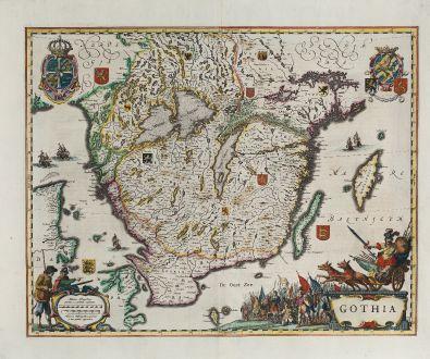 Antique Maps, Blaeu, Scandinavia, Sweden, Götaland, Gothia, 1641-42: Gothia