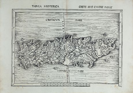 Antique Maps, Waldseemüller, Greece, Crete, Kriti, 1513 or 1520: Tabula neoterica Crete sive Candie insule