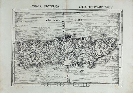 Antike Landkarten, Waldseemüller, Griechenland, Kreta, 1513 oder 1520: Tabula neoterica Crete sive Candie insule