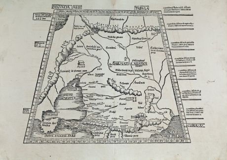 Antique Maps, Waldseemüller, Russia, Crimea, Caspian Sea, Caucasus: Secunda Asiae tabula