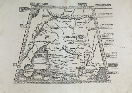 Antike Landkarten, Waldseemüller, Russland, Krim, Kaspischem Meer, Kaukasus: Secunda Asiae tabula