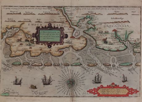 Antike Landkarten, Waghenaer, Deutschland, Ost-Friesland, 1588: A Description of the Sea coastes of East Frysland with all their bankes, sandes and bekons.