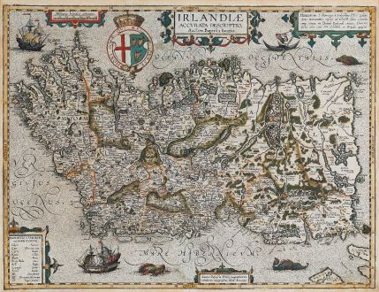 Antique Maps, Ortelius, Ireland, Ireland Island, 1608 or 1612: Irlandiae Accurata Descriptio, Auctore Baptista Boazio