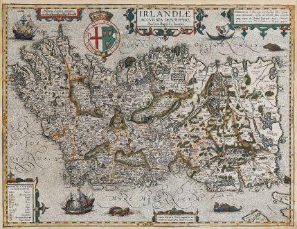 Antike Landkarten, Ortelius, Irland, Irland Insel, 1608 oder 1612: Irlandiae Accurata Descriptio, Auctore Baptista Boazio