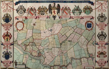 Antike Landkarten, Stampioen, Niederlande, Rotterdam, 1660: Het Hooge Heemraedt Schap van Schielandt