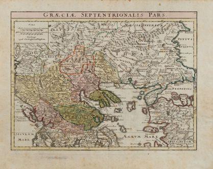 Antike Landkarten, Weigel, Griechenland, 1720: Graeciae Septentrionalis Pars.