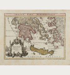 Graeciae pars Meridionalis / Graeciae Antiquae Tabula Nova in qua locarum situs tum ad distantia itenerarias