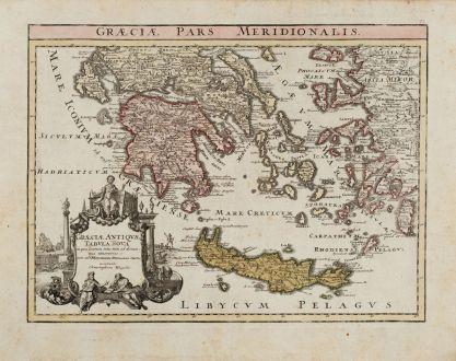 Antike Landkarten, Weigel, Griechenland, 1720: Graeciae pars Meridionalis / Graeciae Antiquae Tabula Nova in qua locarum situs tum ad distantia itenerarias