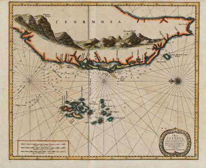 Antique Maps, van der Aa, Southeast Asia, Taiwan, Formosa, 1720: L'Ile de Formosa, ou sont exactement marquez les bancs de sables, rochers et brasses d'eau, le tout fait...