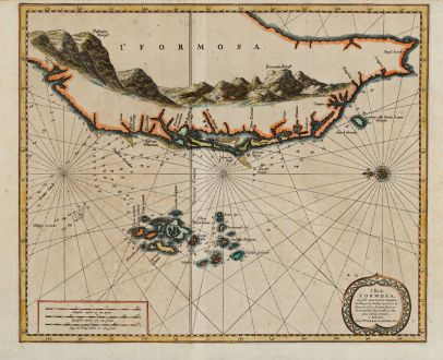 Antike Landkarten, van der Aa, Südost Asien, Taiwan, Formosa, 1720: L'Ile de Formosa, ou sont exactement marquez les bancs de sables, rochers et brasses d'eau, le tout fait...