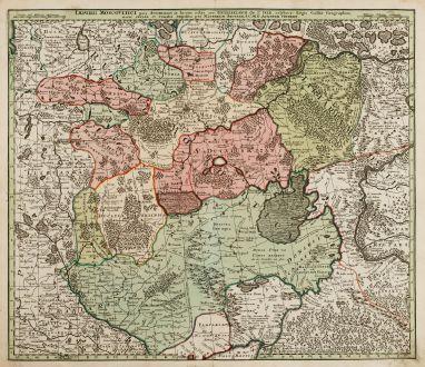 Antike Landkarten, Seutter, Russland, Moskau, Moskwa, 1730: Imperii Moscovitici pars Australis...