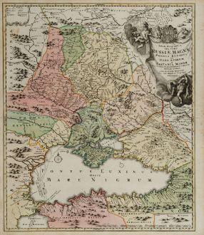 Antike Landkarten, Homann, Ukraine, Schwarzes Meer, 1720: Tabula Geographica qua pars Russiae Magnae Pontus Euxinus seu Mare Nigrum et Tartaria Minor ...