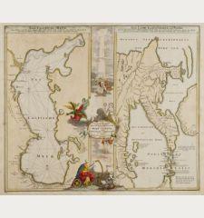 Geographica Nova.. Mare Caspium altera Kamtzadaliam seu Terram Jedso curiose exhibet... / Das Caspische Meer / Das Land...