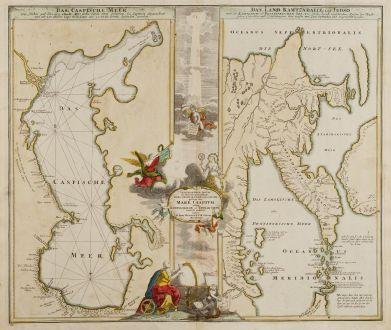 Antike Landkarten, Homann, Russland, Kaspisches Meer, 1730: Geographica Nova.. Mare Caspium altera Kamtzadaliam seu Terram Jedso curiose exhibet... / Das Caspische Meer / Das Land...