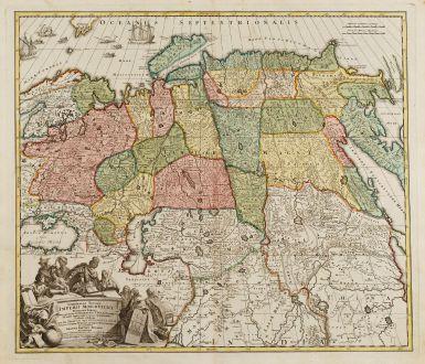 Antike Landkarten, Homann, Russland, 1720: Generalis totius Imperii Moscovitici Novissima Tabula. Magnam Orbis Terrarum Partem a Polo Arctico...