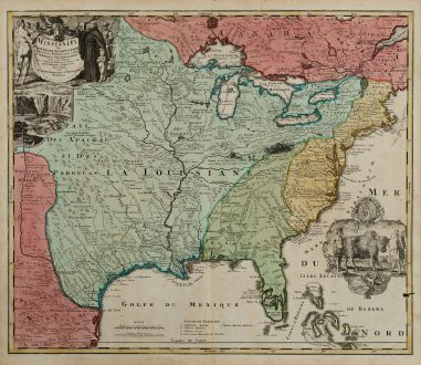 Antique Maps, Homann, North America, Virginia, Florida, Louisiana, Mississippi: Amplissimae Regionis Mississipi seu Provinciae Ludovicianae a R.P. Ludovico Hennepin Francisc Miss in America Septentrionali...