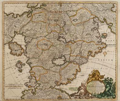 Antike Landkarten, Seutter, Schlaraffenland, 1730: Accurata Utopiae Tabula das ist der Neu-Entdeckten Schalck-Welt, oder des so Offt Benannten und doch nie Erkannten...