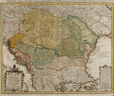 Antique Maps, Homann Erben, Balkan, Hungaria, Croatia, Serbia, 1744: Hungariae ampliori significatu et veteris vel methodicae complexae: Regna Hungariae, Propriae, Croatiae, Dalmatiae, Bosniae,...