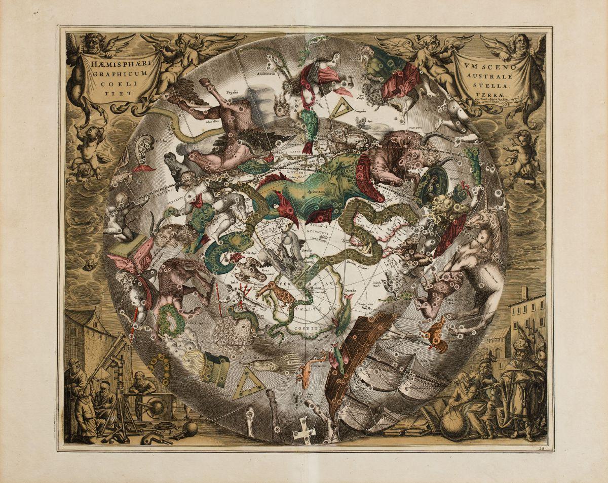 Haemisphaerium Scenographi Australe Coeli Stellati et Terrae on constellation sky map, old sky map, printable sky map, celestial sky map, dark sky map,